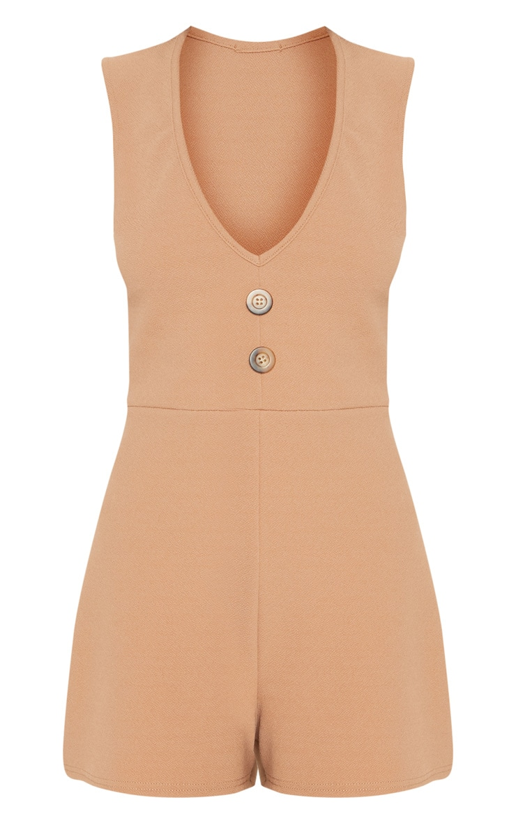 Camel Button Detail Slouchy Playsuit 3