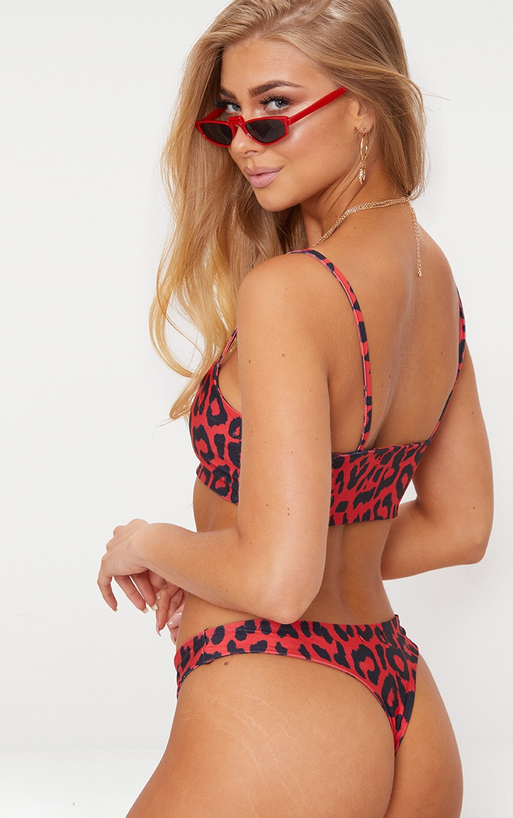 Red Cheetah Print Low Scoop Bikini Top 2