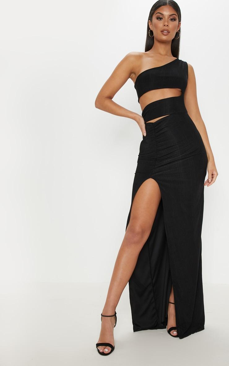 Black Slinky Rib Cut Out Split Maxi Dress image 1 3d8b51a21