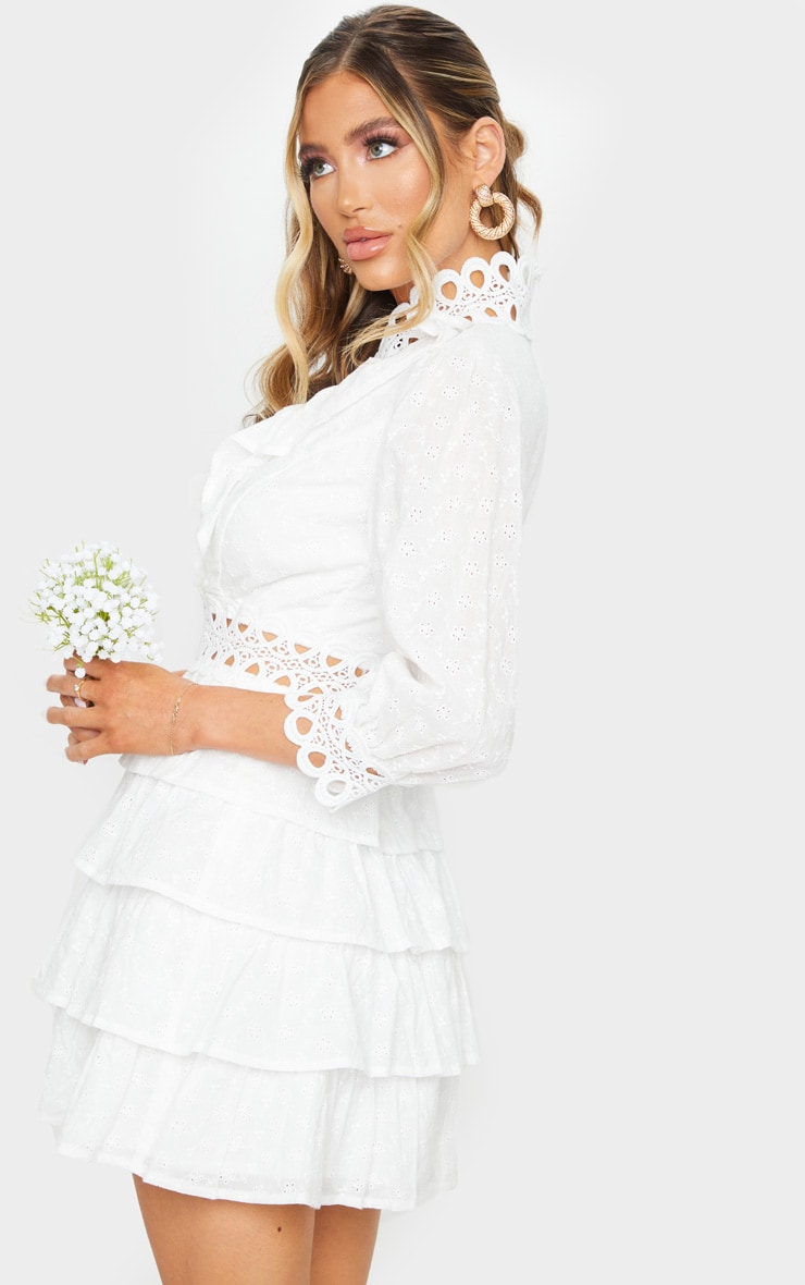 White Lace Trim Broderie Anglaise Tiered Skater Dress 2