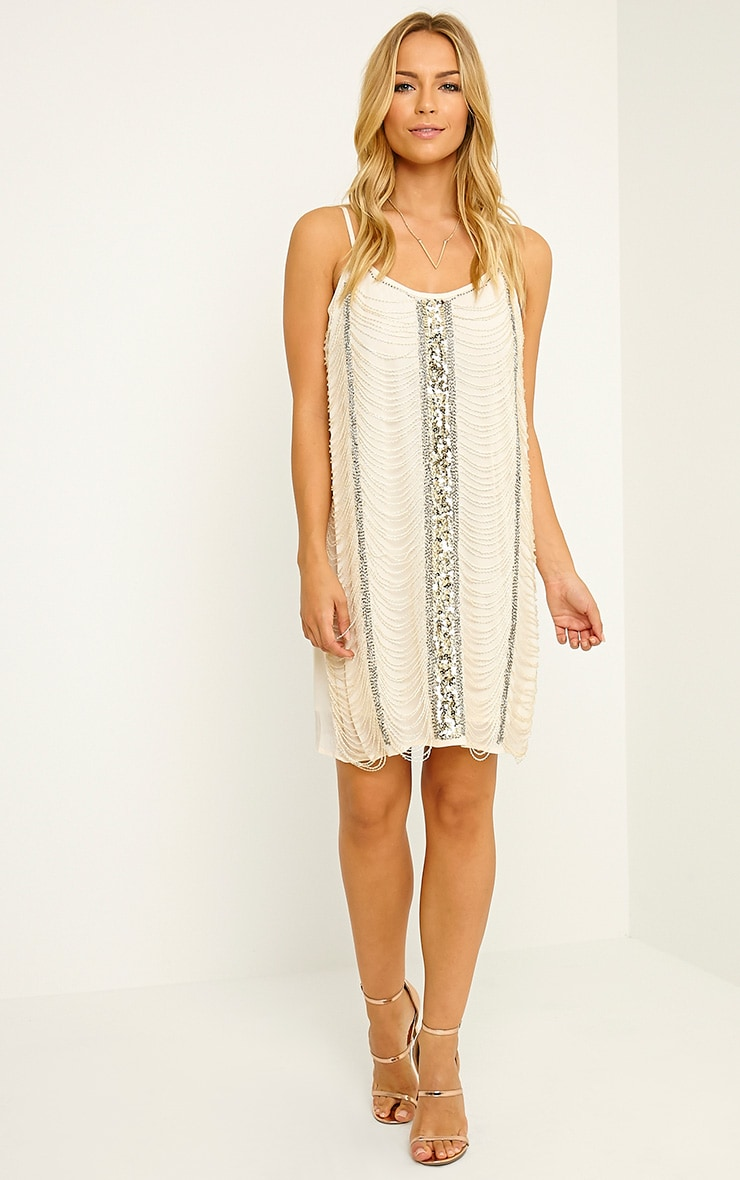 Yvette Cream Beaded Cami Dress 3