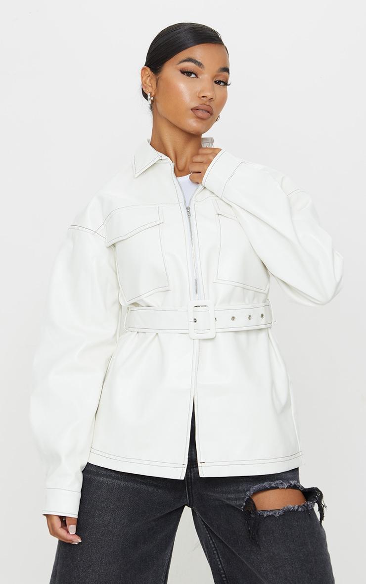 Cream PU Contrast Stitch Belted Shacket 3