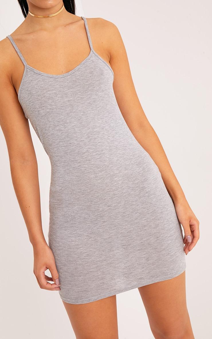 Basic robe moulante à bretelles et encolure dégagée gris chiné 4