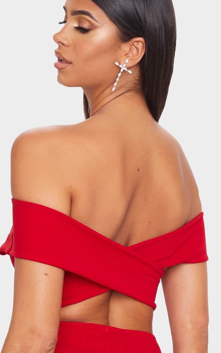 Red Bardot Cross Back Midi Dress 5