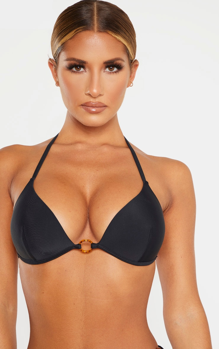 Black Tortoise Ring Padded Triangle Bikini Top 4