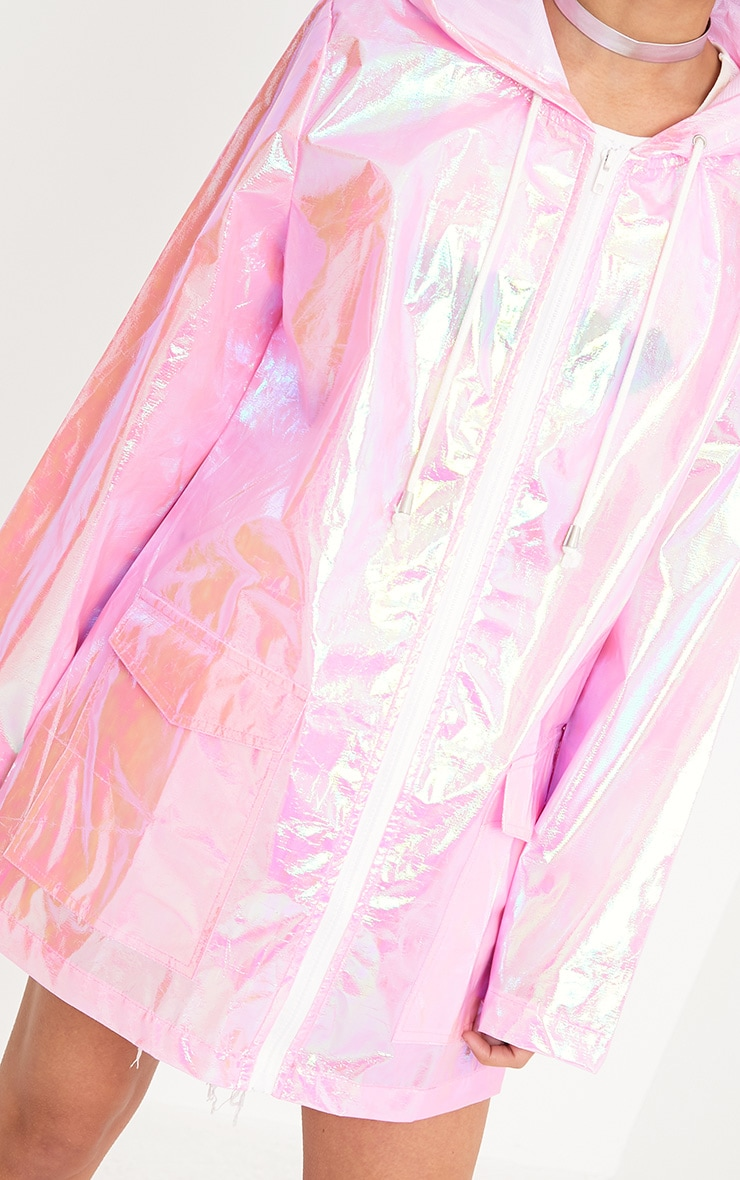 Cobie Pink Holographic Rain Mac 5