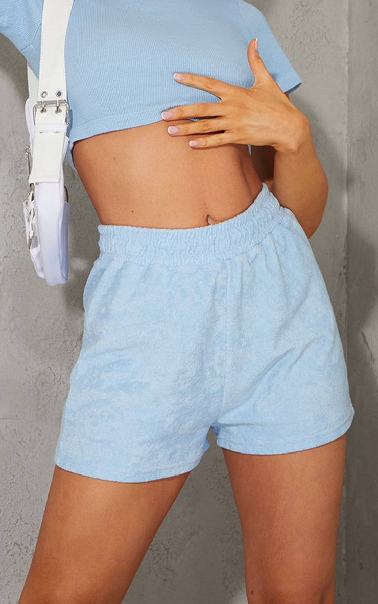 Baby Blue Toweling Runner Shorts 5