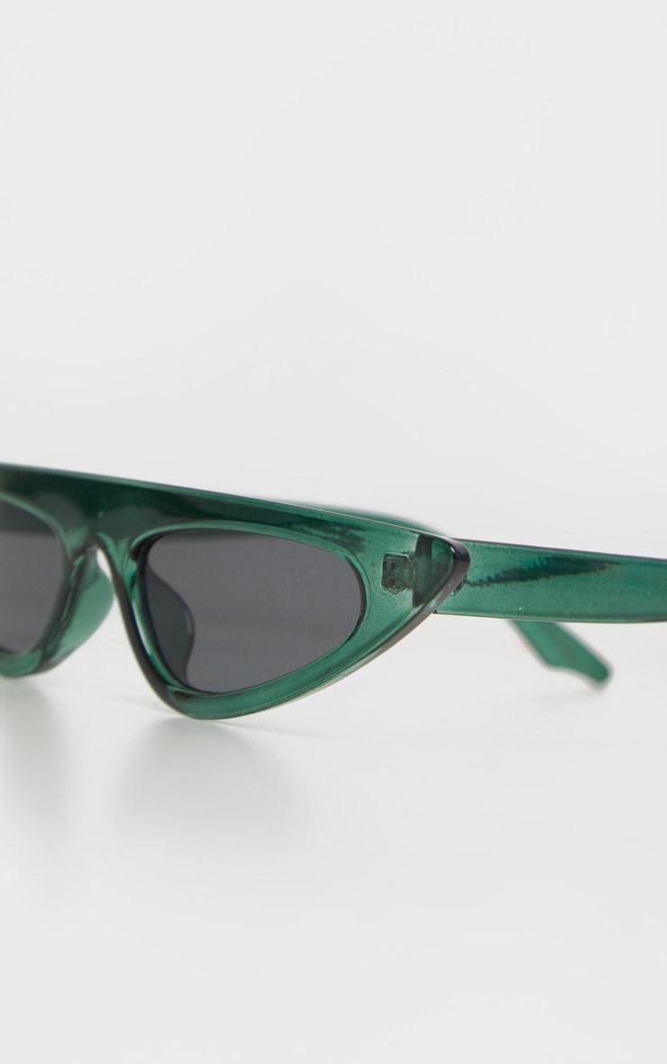 Green Flat Top Slim Cat Eye Sunglasses 5