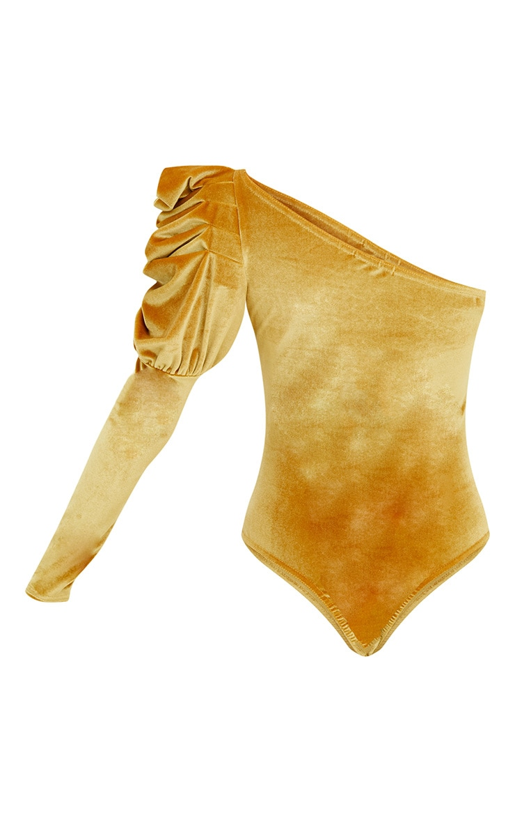 Mustard Velvet Puff One Shoulder Thong Bodysuit 4