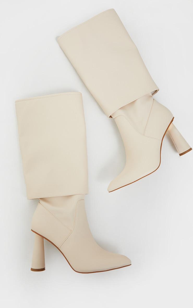 Cream Pu Point Toe Fold Down Circle High Heeled Boots 3