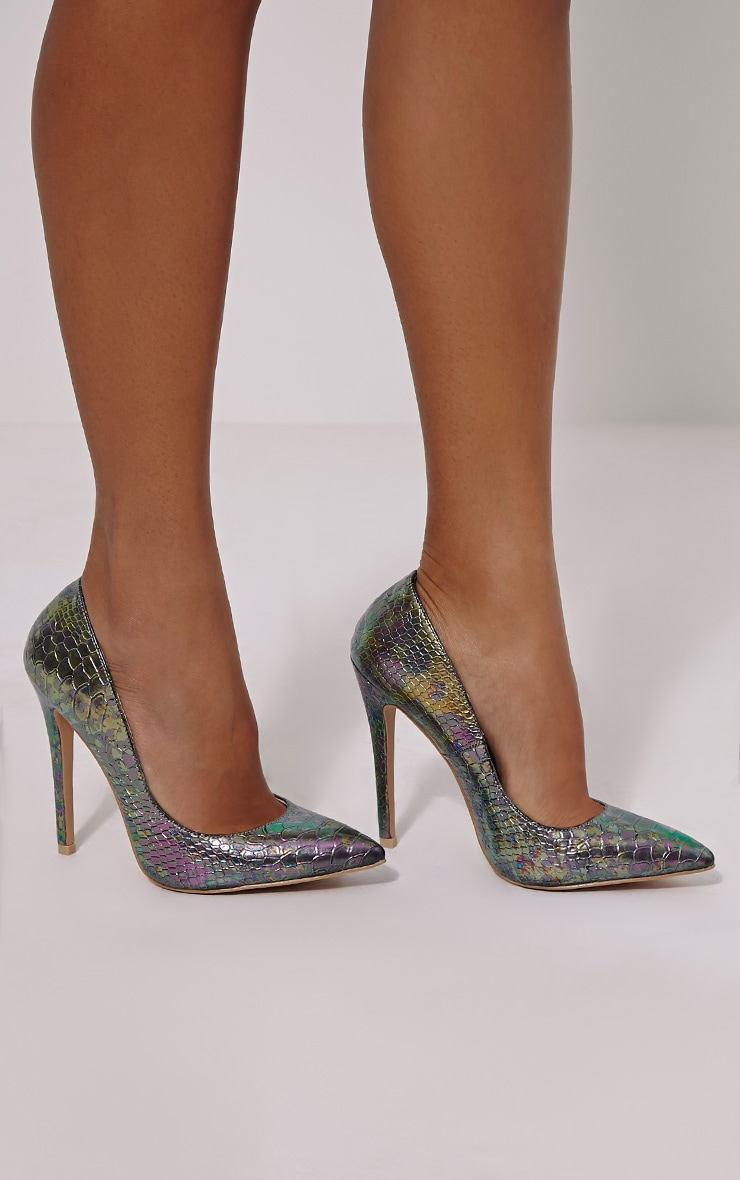 Roxy Blue Metallic Snake Effect Court Heels 1
