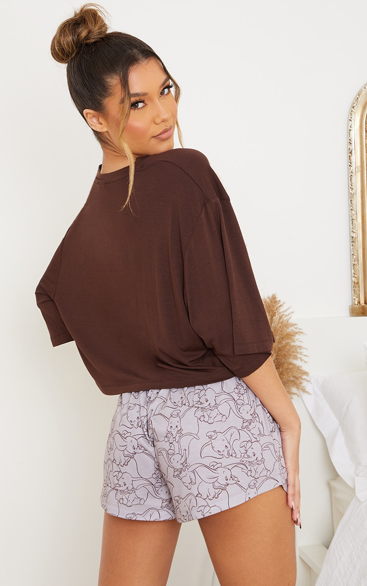 Brown Disney Dumbo T-Shirt And Shorts PJ Set 2