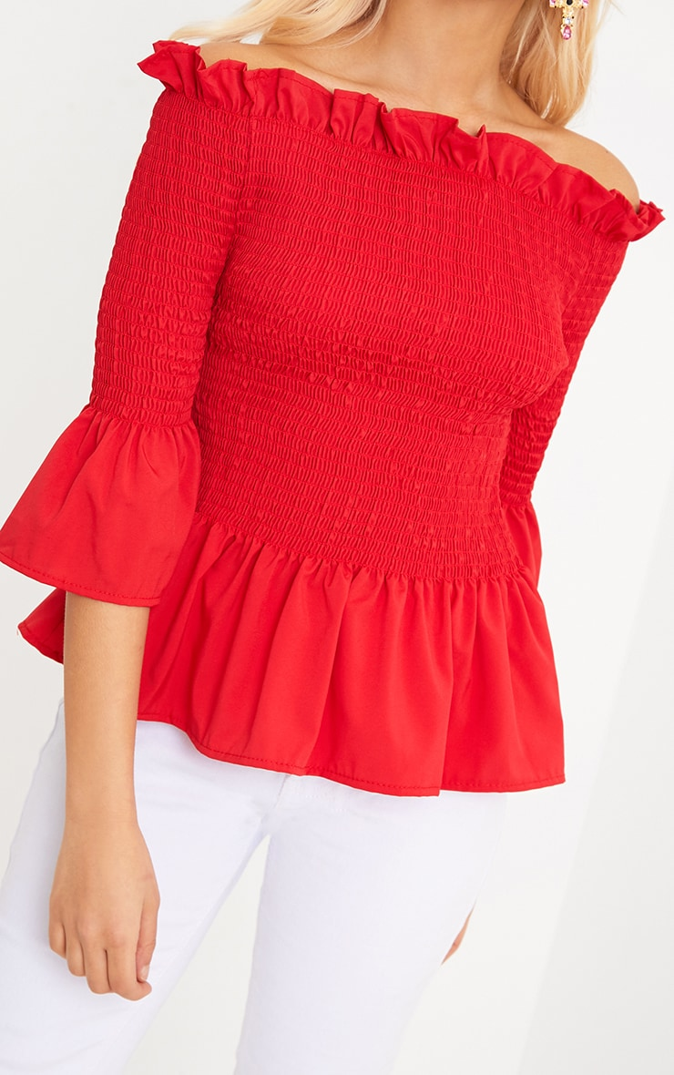 Pami Red Ruched Bardot Cotton Shirt 5