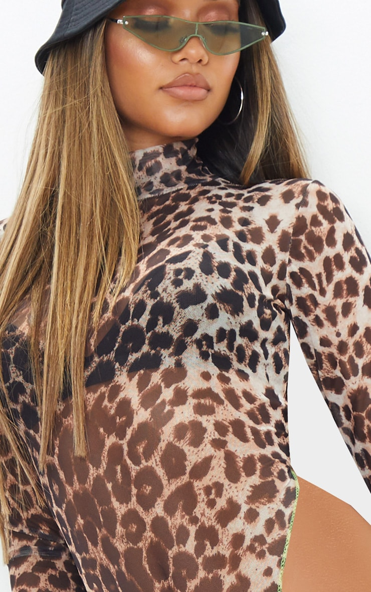 Tan Leopard Mesh Contrast Stitch High Leg High Neck Bodysuit 6