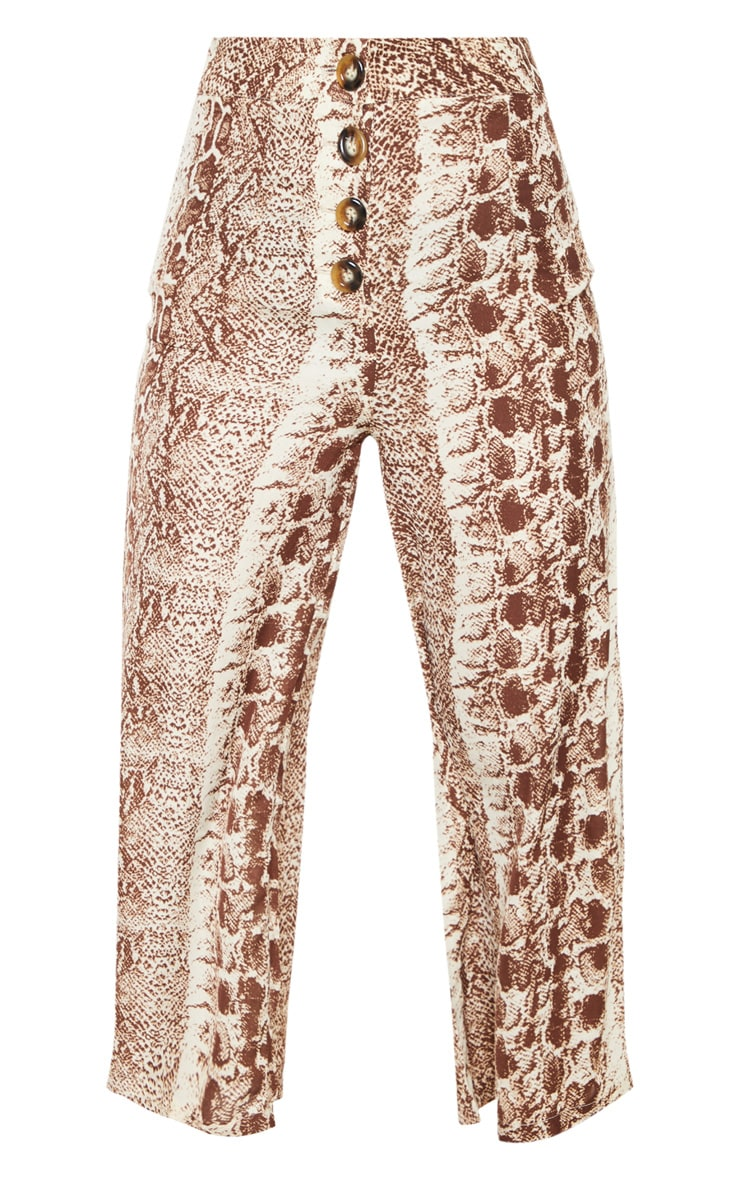 Brown Button Front Snake Print Culotte 3
