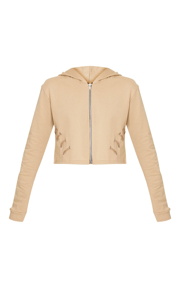 Imogen Taupe Lace Up Detail Cropped Hoodie 3