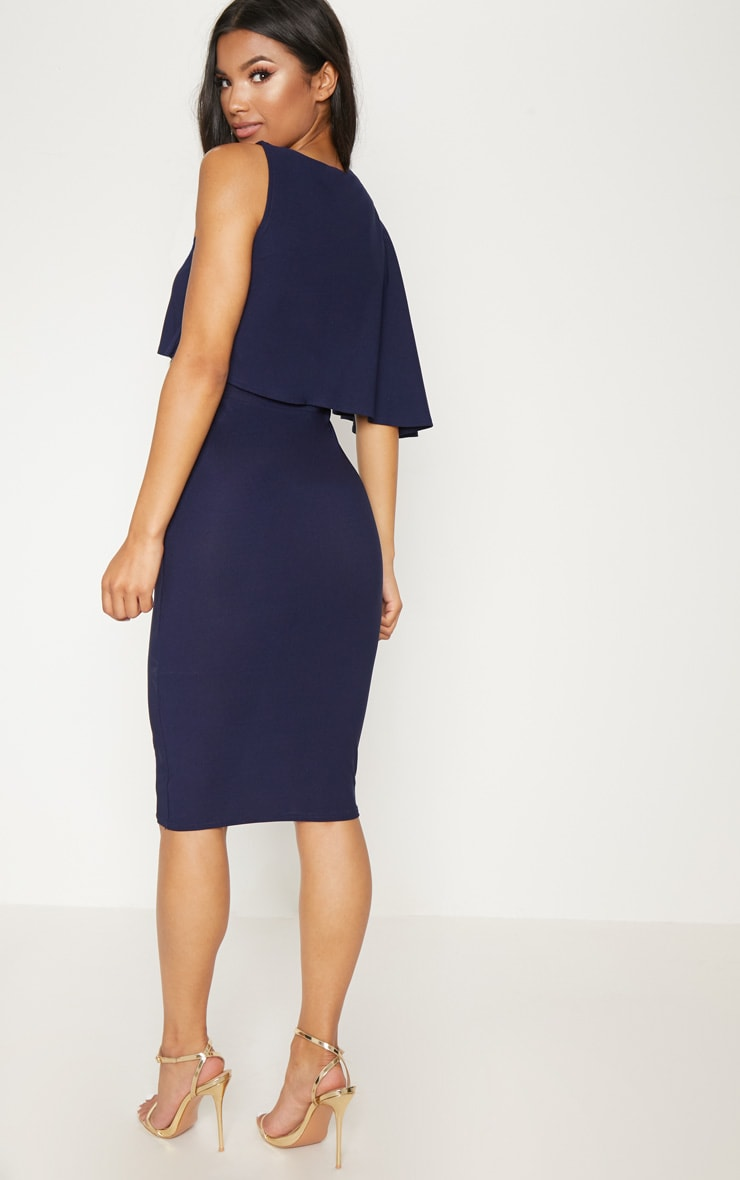 Navy One Shoulder Cape Detail Midi Dress 2