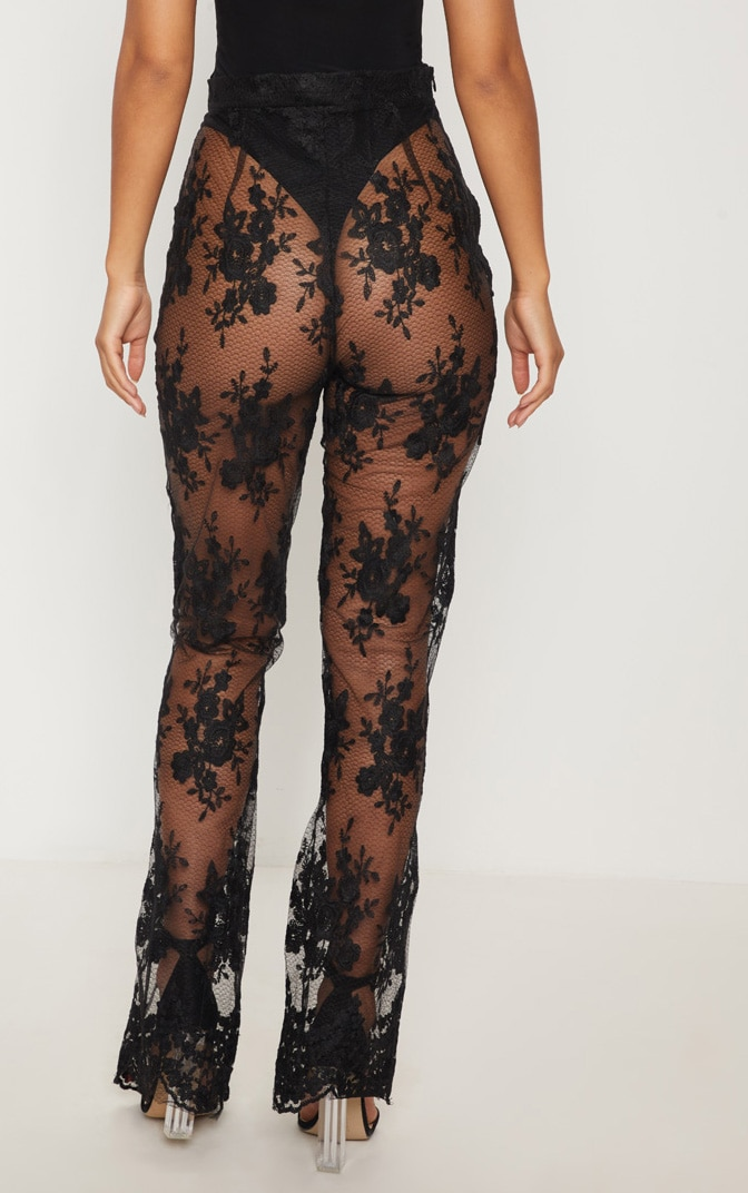 Black Occasion Sheer Lace Flare Leg Trousers 4
