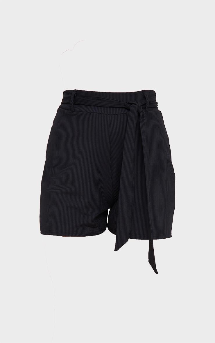 Black Belted Rib Floaty Shorts 6