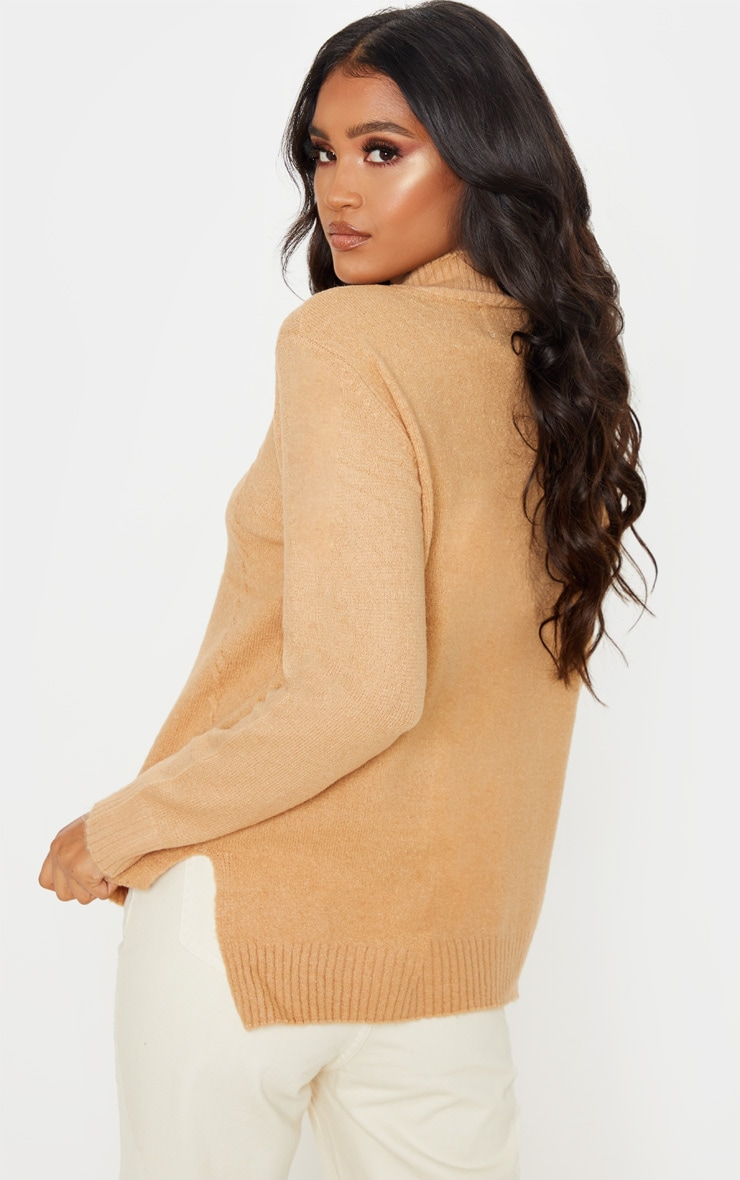 Camel High Neck Fluffy Knit Twist Detail Sweater 2