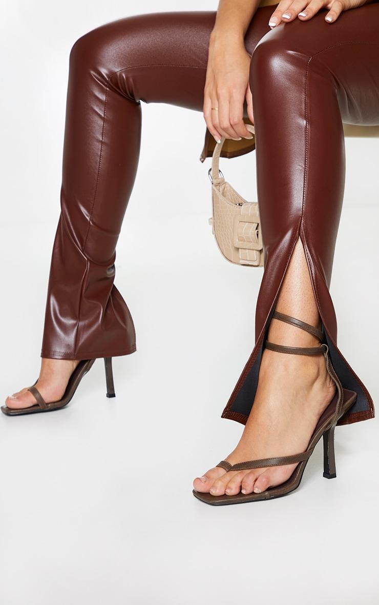 Chocolate Faux Leather Split Hem Leggings 4