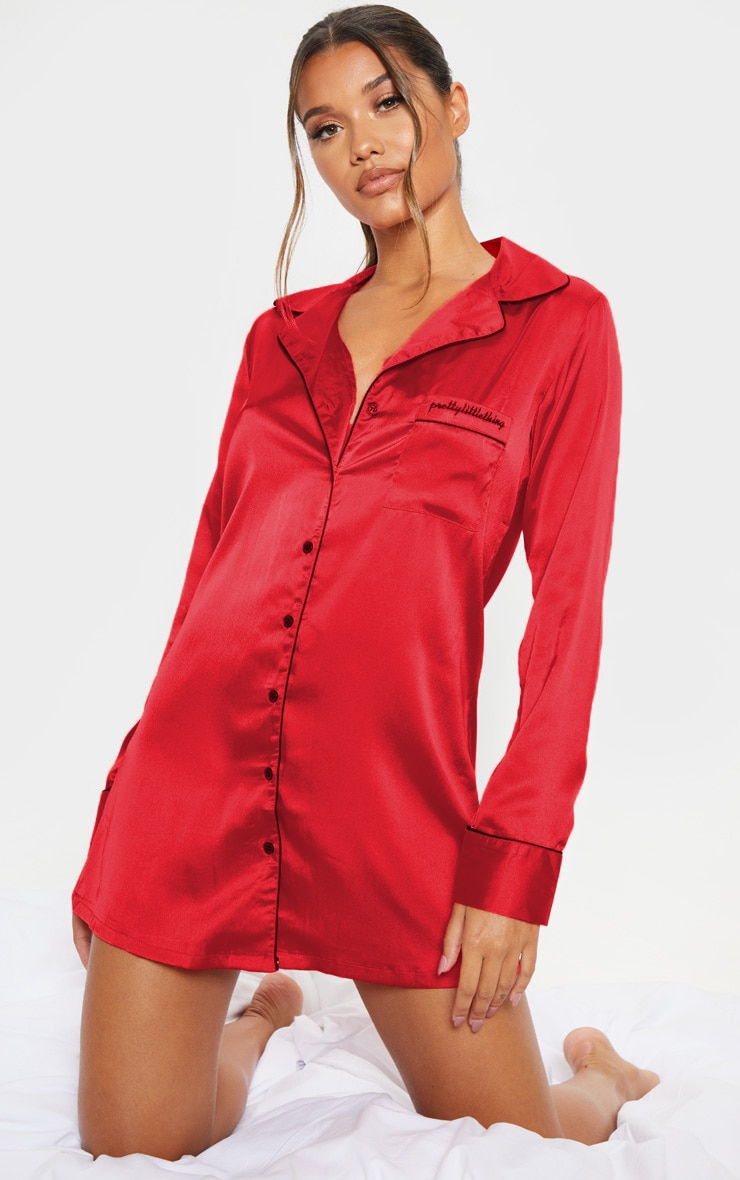 PRETTYLITTLETHING Red Satin Nightshirt 1