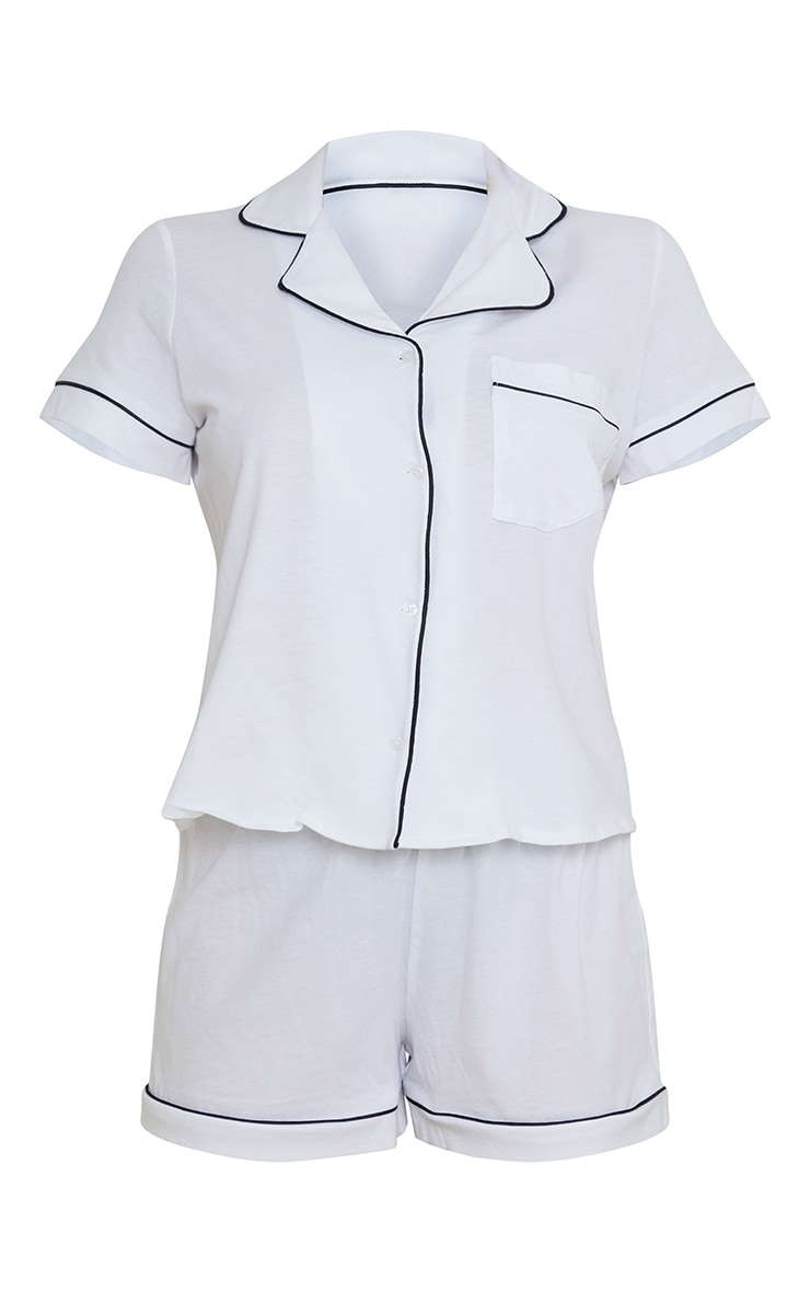 White Jersey Button Down Short Set 5