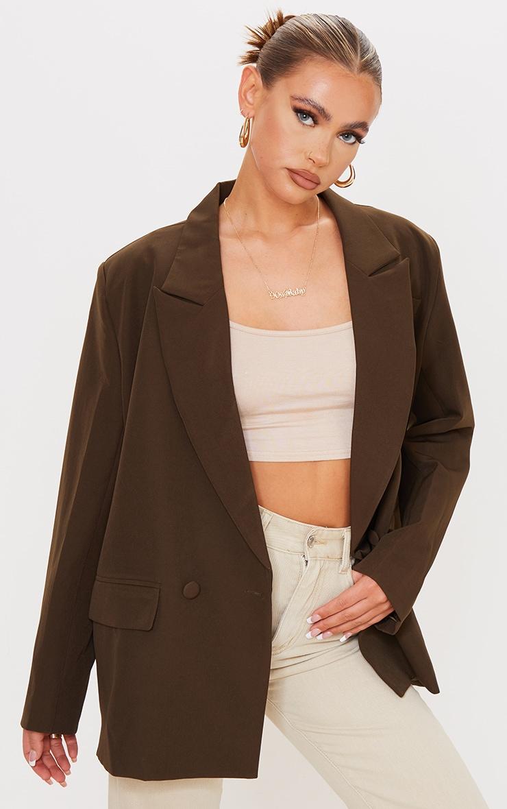 Chocolate Woven Extreme Shoulder Padded Oversized Blazer 1