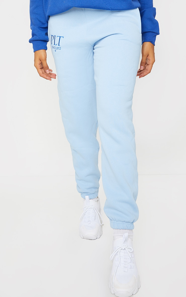 PRETTYLITTLETHING Baby Blue Established Slogan Casual Joggers 2