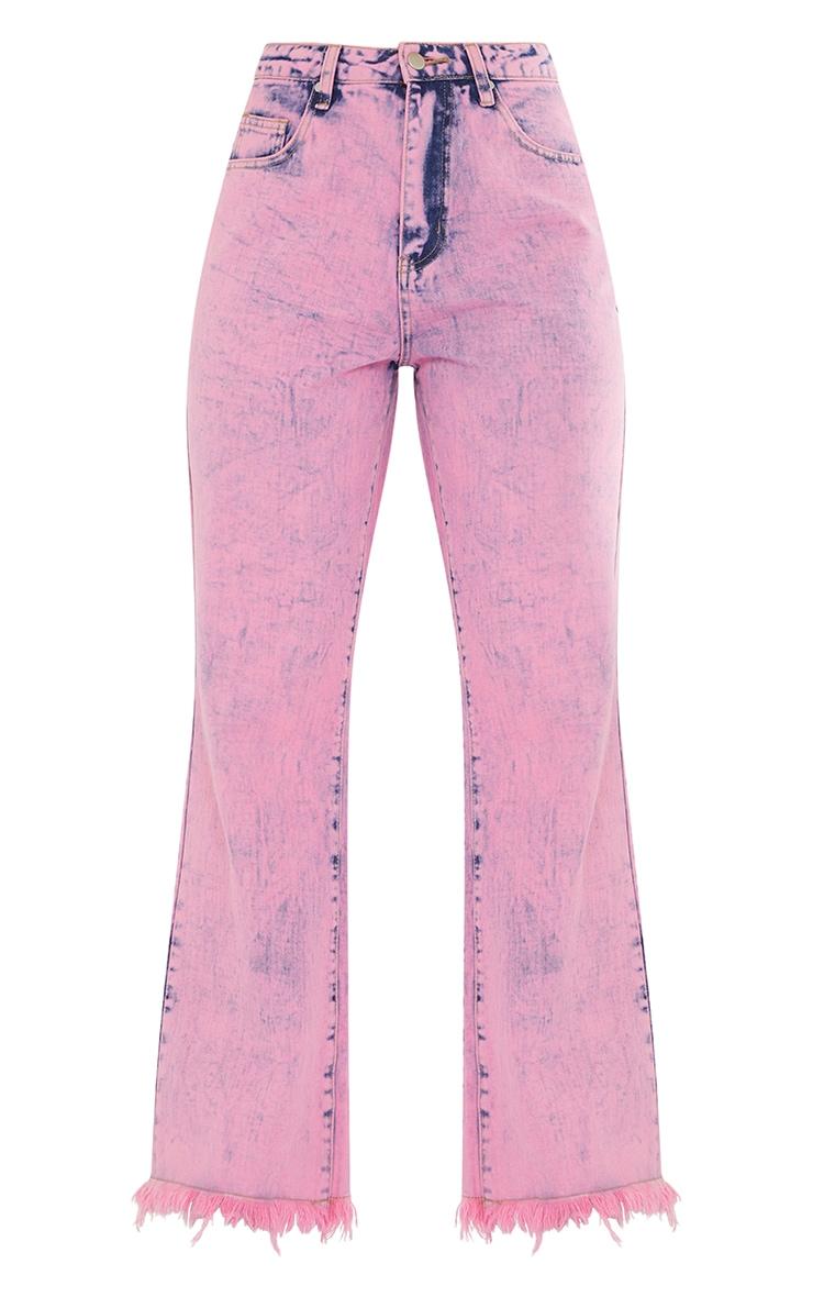 Pink Acid Wash Denim Frayed Hem Wide Leg 5