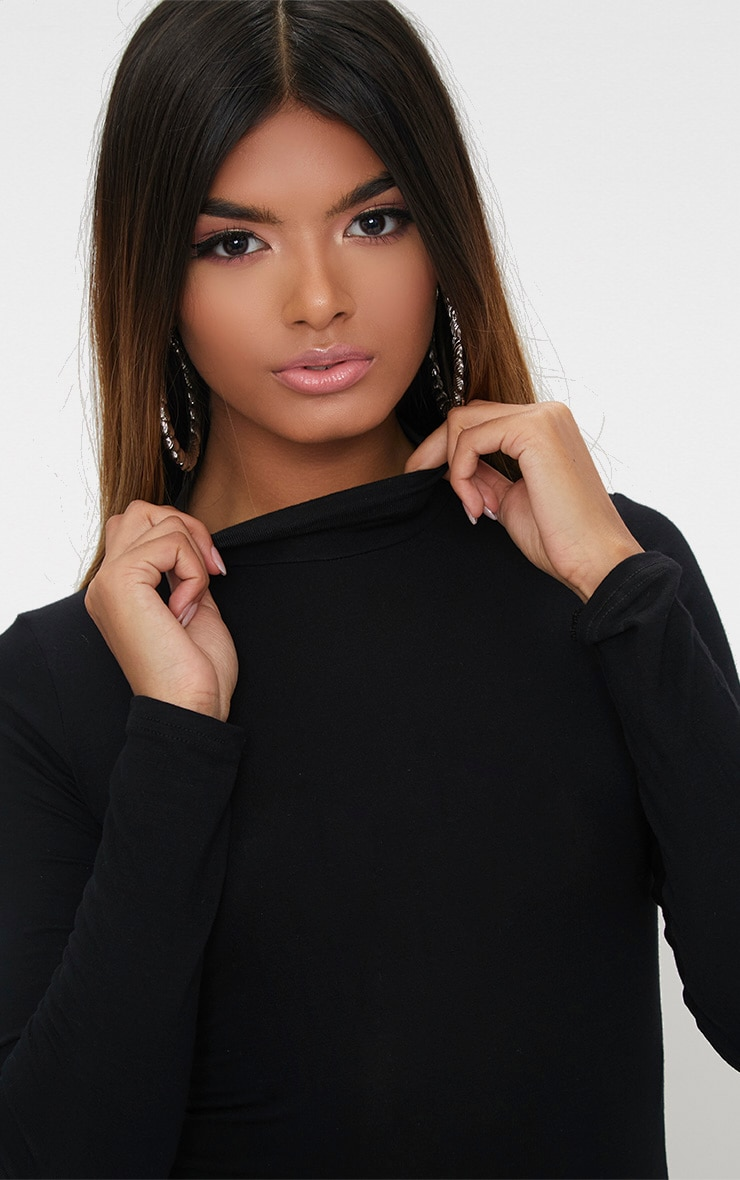 Petite Black Basic High Neck Bodysuit 6