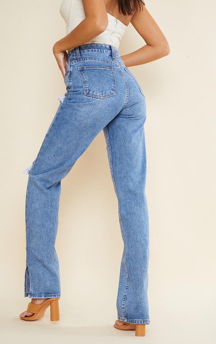 Tall Mid Blue Wash Ripped Split Hem Jeans 3