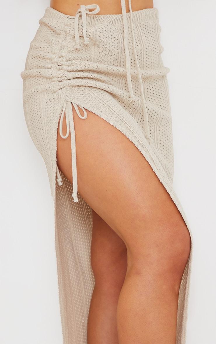 Cream Pointelle Tie Side Ruched Skirt 4