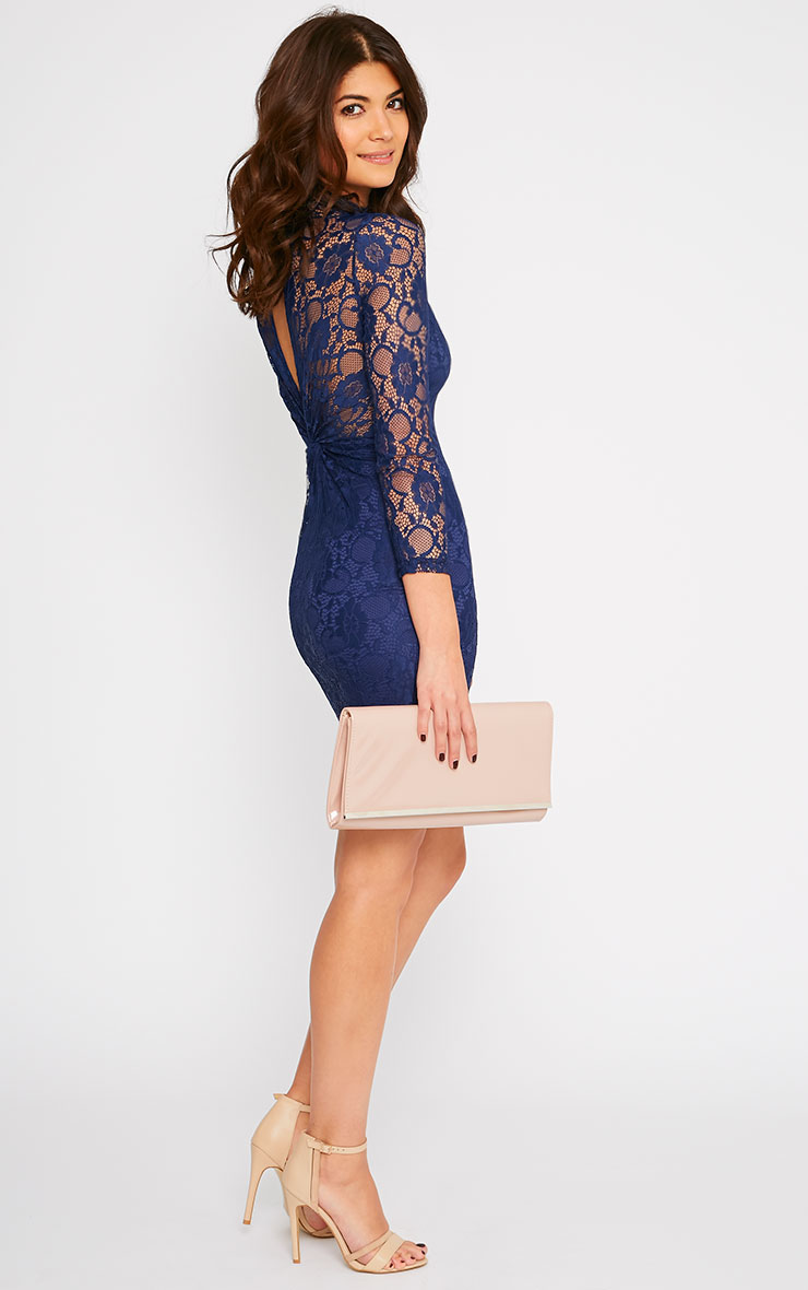 Esty Navy Lace High Neck Mini Dress  3