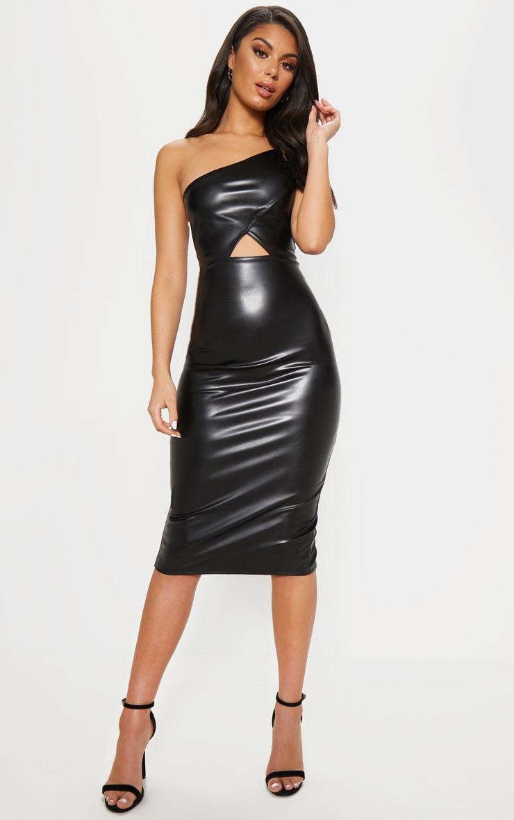 Black Faux Leather One Shoulder Cut Out Midi Dress 1