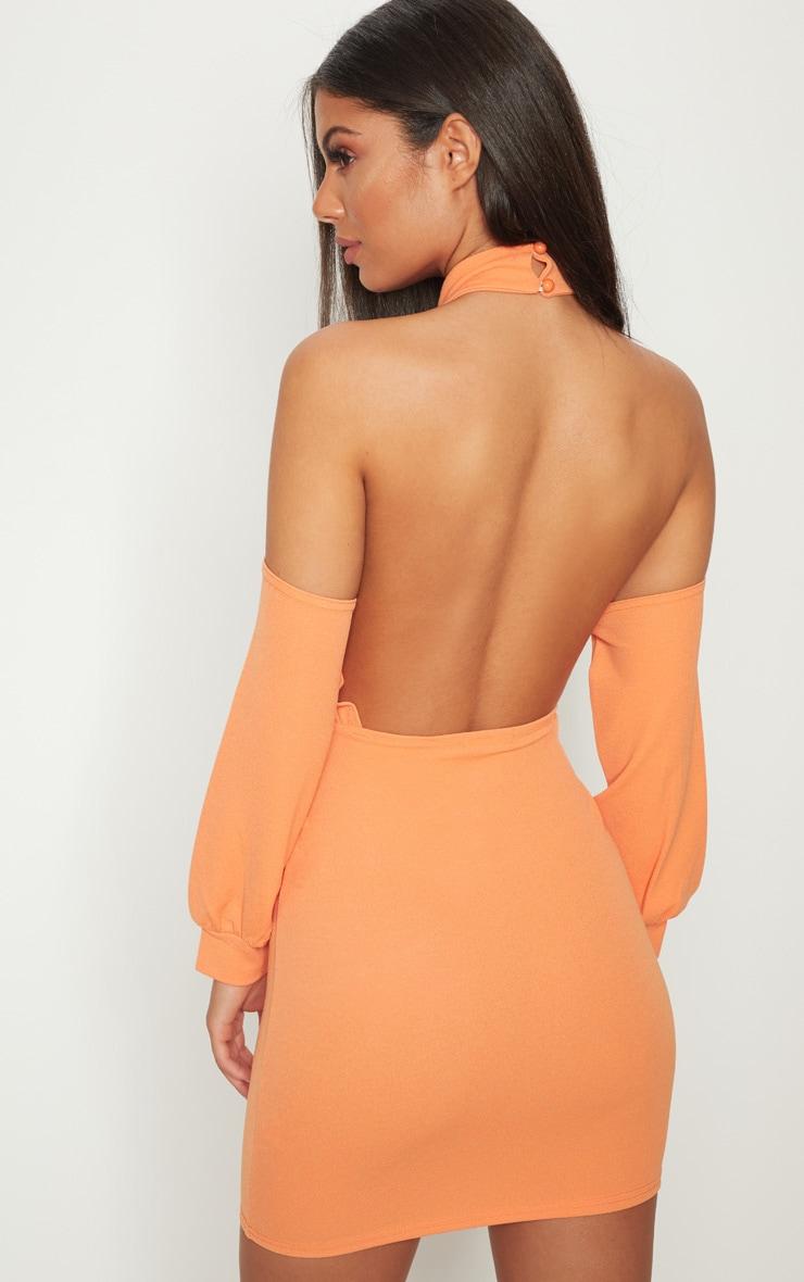 Tangerine High Neck Cold Shoulder Bodycon Dress 2