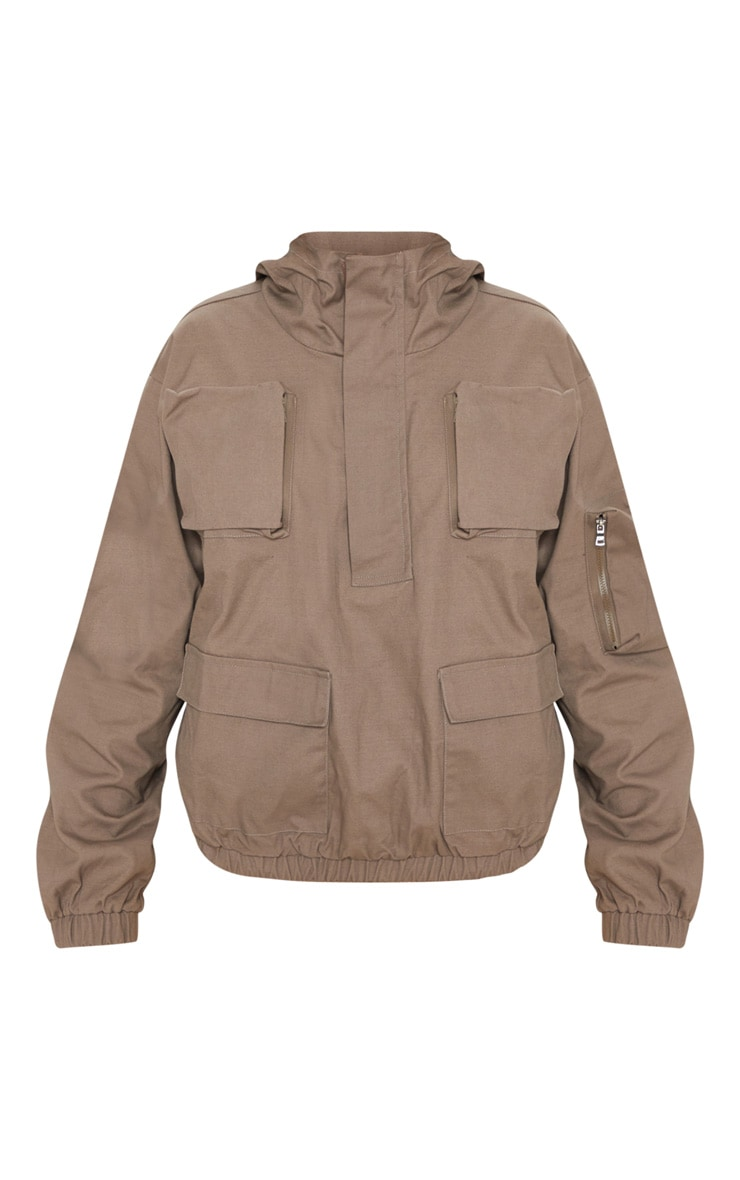 Taupe Pocket Front Cargo Hoodie 4