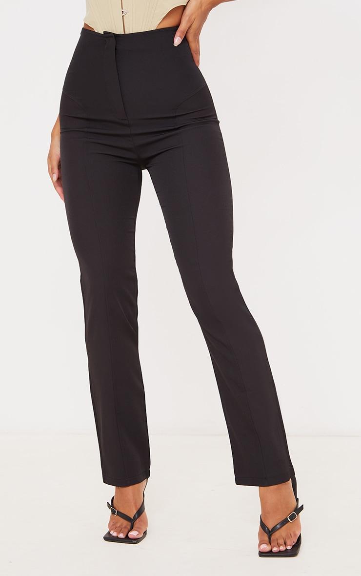 Black High Waisted Seam Detail Straight Leg Pants 2