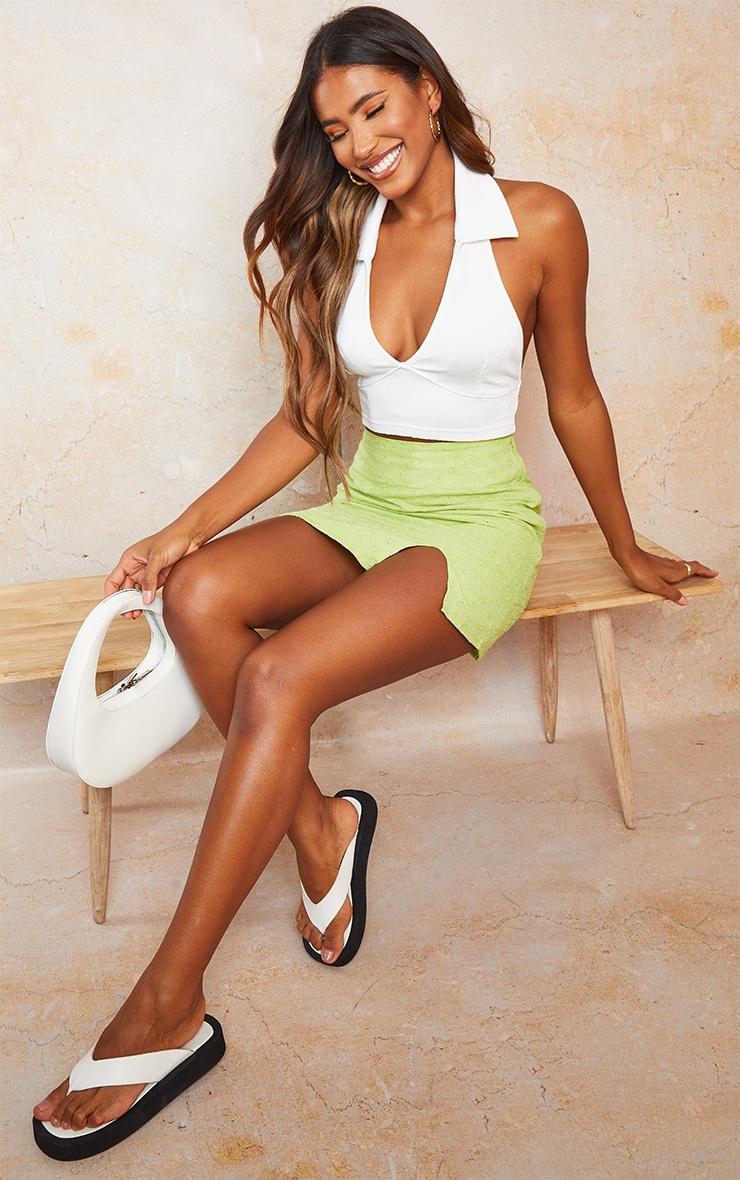 Lime Green Broderie Split Detail Mini Skirt 1