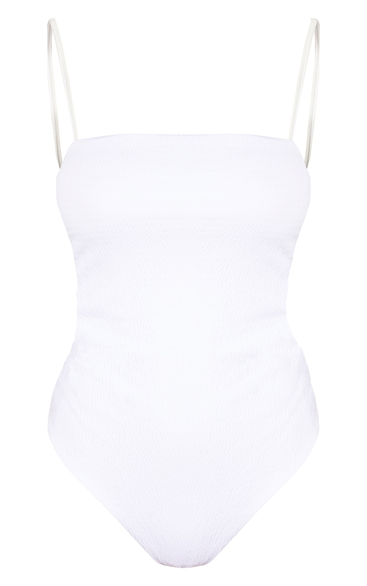 Tall White Crinkle Square Neck Strappy Swimsuit 3