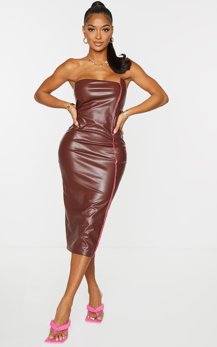 Shape Chocolate PU Overlock Detail Bandeau Midi Dress 1
