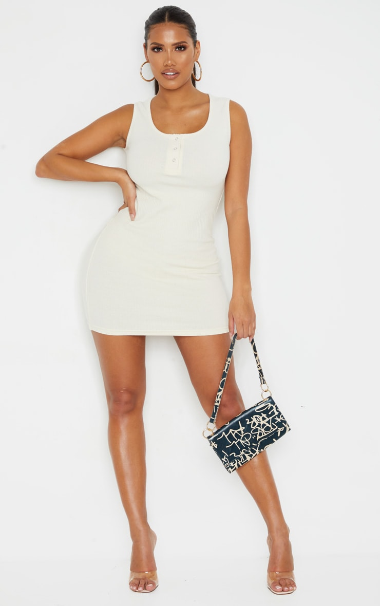 Shape Cream Thick Rib Popper Detail Sleeveless Bodycon Dress 1