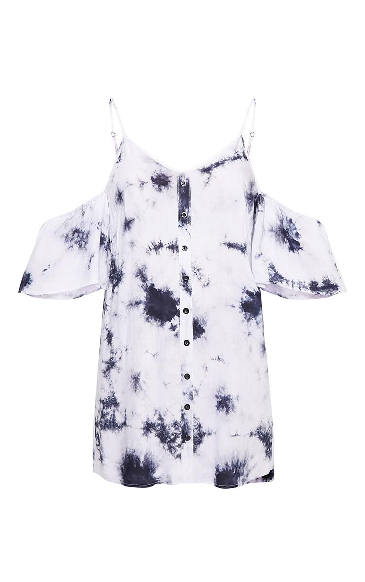 Navy Tie Dye Cold Shoulder Shift Dress 3