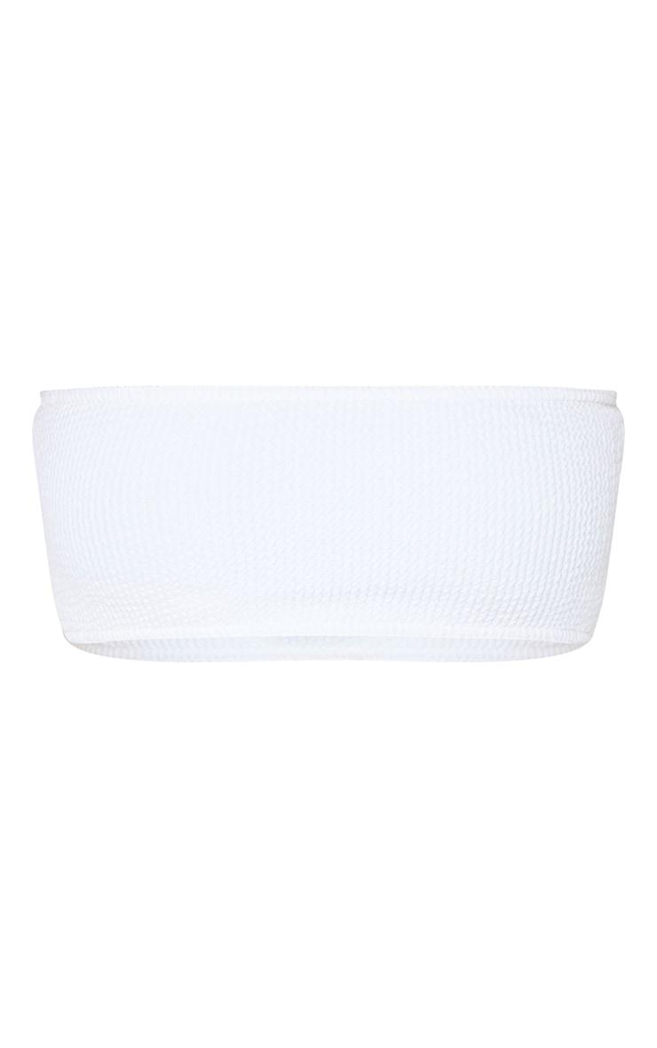 قطعة بيكيني علوية باندو بقماش مجعد، لون أبيض 1