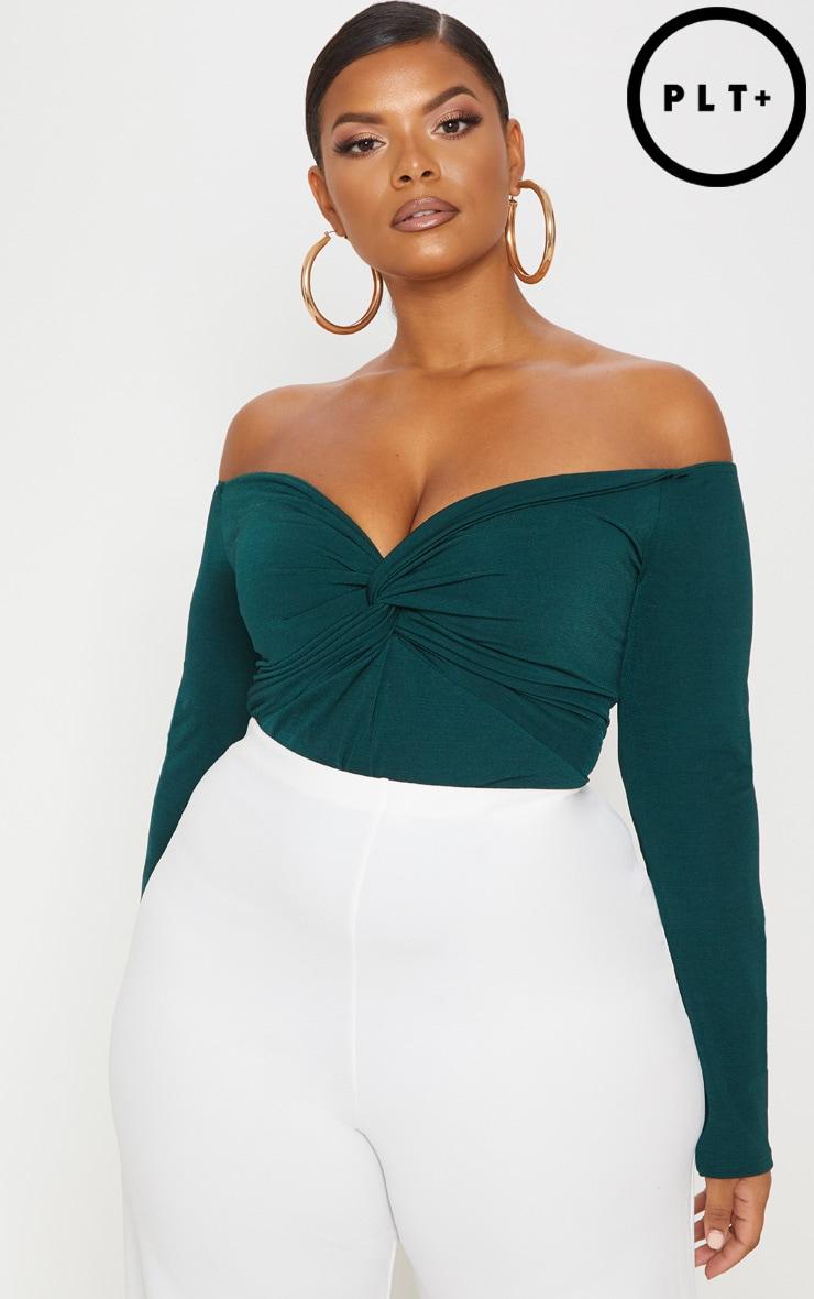 Plus Slinky Emerald Green Twist Front Bardot Bodysuit by Prettylittlething