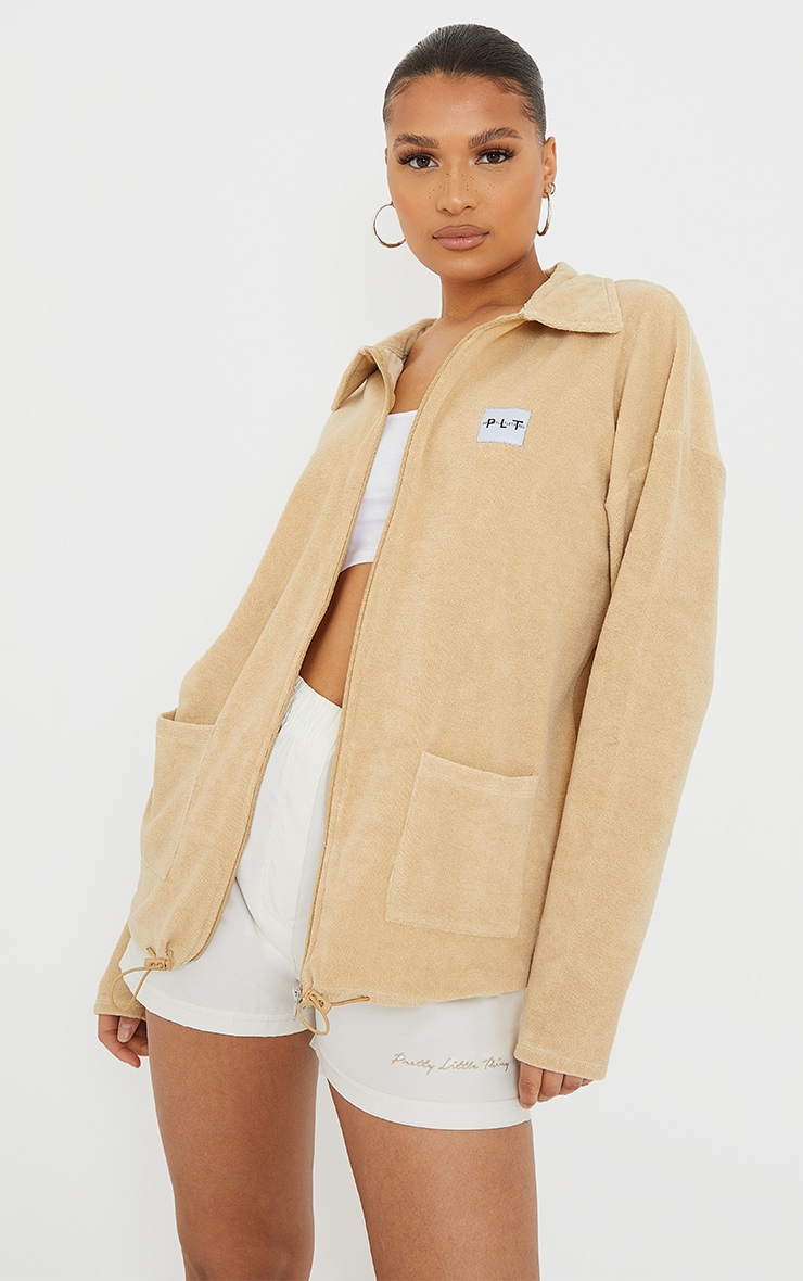 PRETTYLITTLETHING Sand Towelling Zip Up Tracksuit Jacket 1