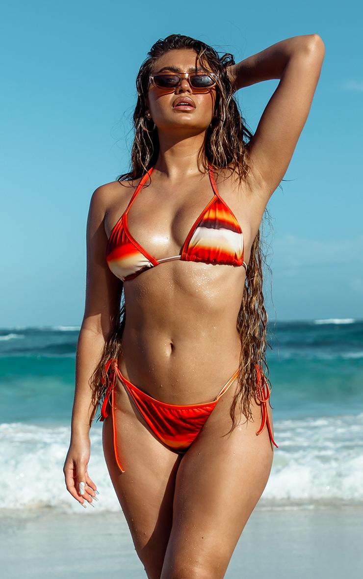 Orange Ombre Print Triangle Bikini Top 1
