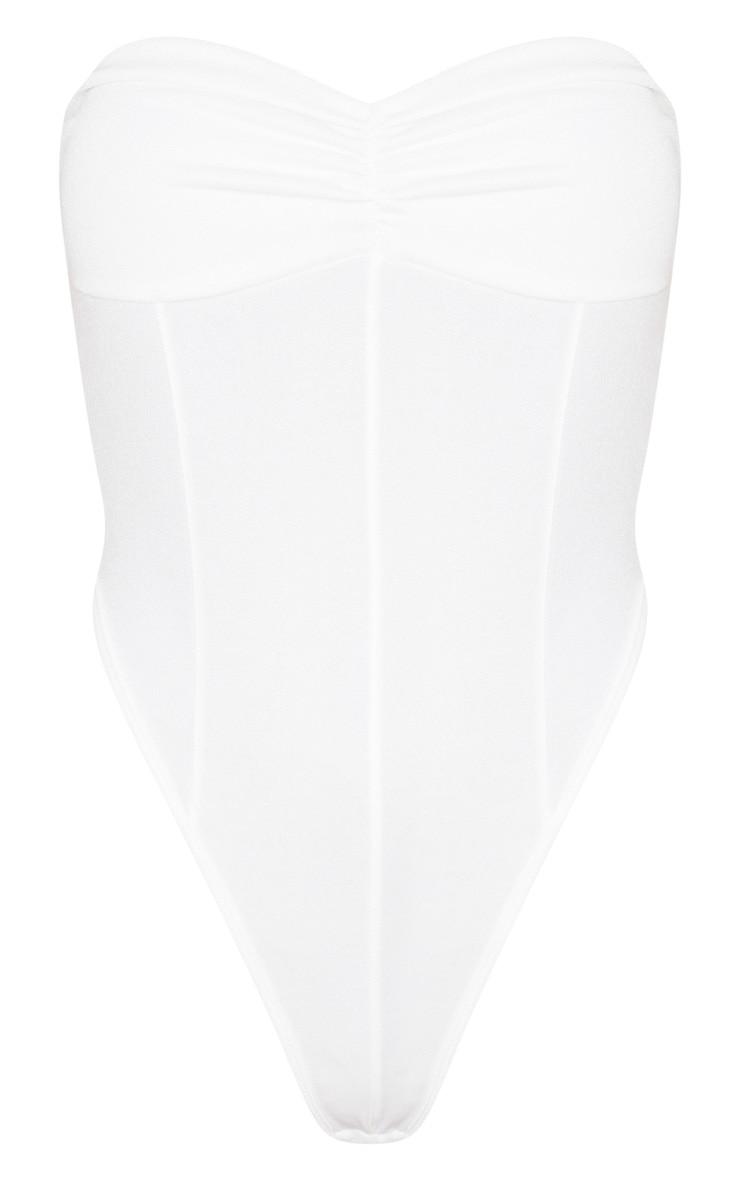 Body basique en crêpe blanc torsadé à col bateau 3
