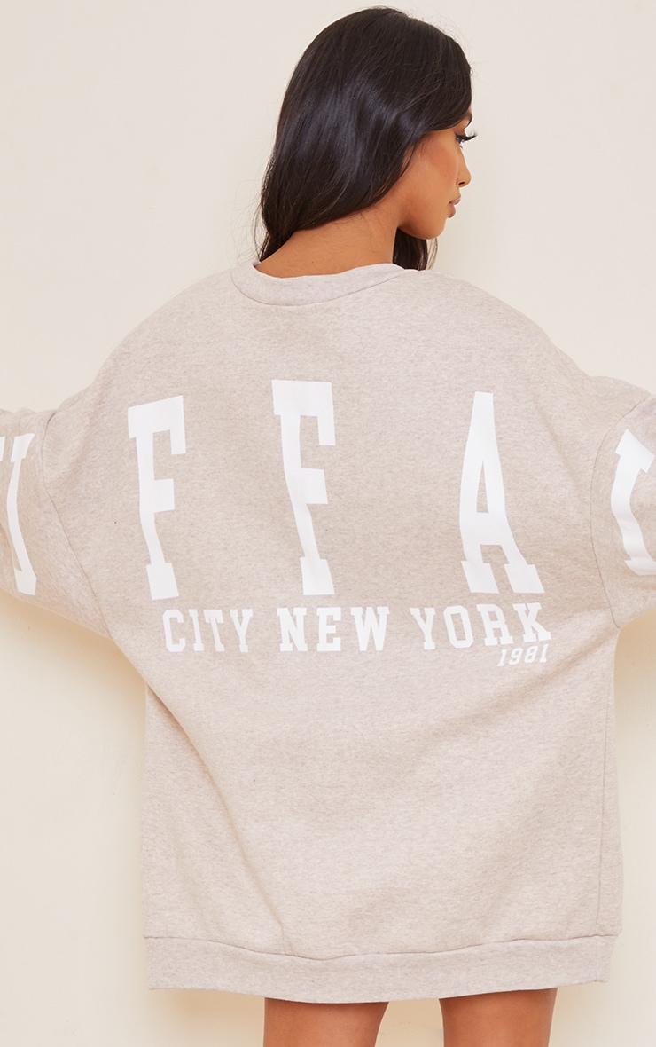 Petite Oatmeal Buffalo New York Slogan Sweat Jumper Dress 4