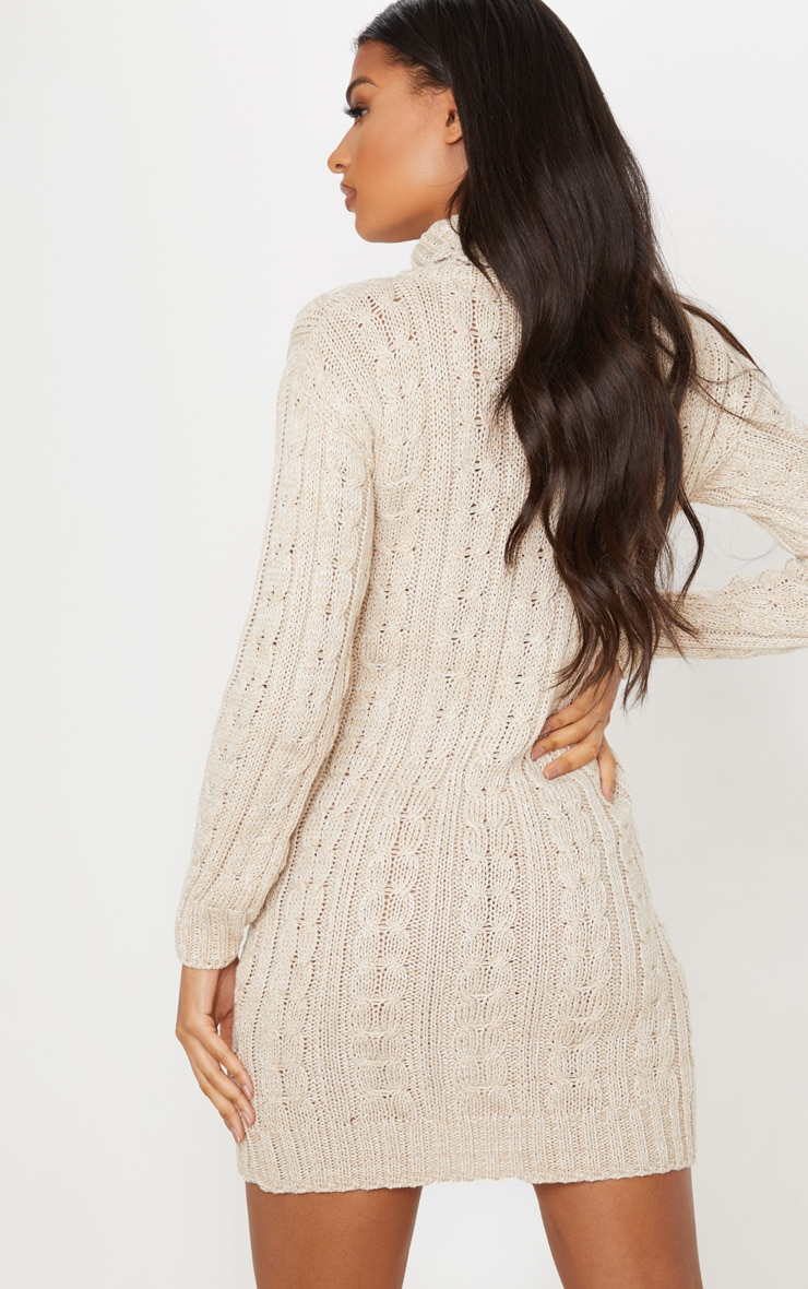 Oatmeal All Over Cable Knit Sweater Dress 2